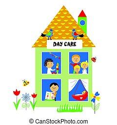 geitjes, illustratie, of, kleuterschool, dag zorg