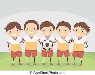 geitjes, illustratie, team, voetbal, stickman, binnen