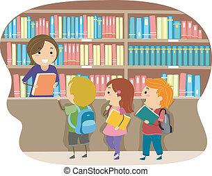 geitjes, in, een, bibliotheek