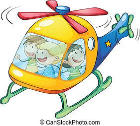 geitjes, in, een, helikopter