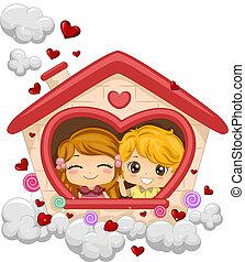 geitjes, in, een, playhouse
