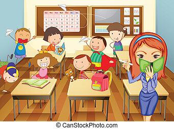geitjes, in, klaslokaal