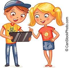 geitjes, kijken naar, tablet pc, computer