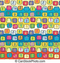 geitjes, kleurrijke, abstract, seamless, stylized, achtergrond