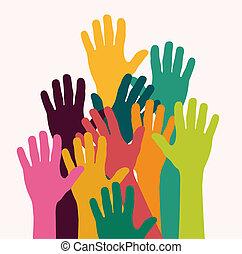 geitjes, kleurrijke, handen