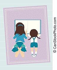 geitjes, lezen, illustratie, boek, zuster, meisje