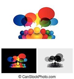geitjes, media, sociaal, klesten, vector, communicatie ikoon, vergadering, of, personeel