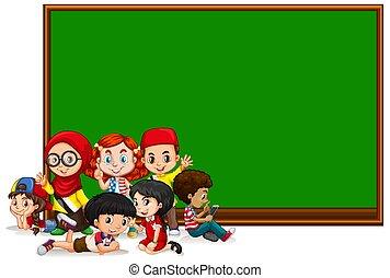 geitjes, meldingsbord, groene, plank, mal, leeg