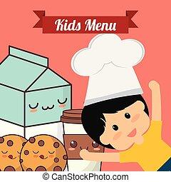 geitjes, menu, kok, koekje, kind, melk