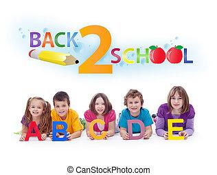 geitjes, met, alfabet, brieven, -, rug te onderrichten, concept