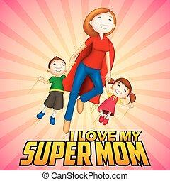 geitjes, moeder, supermom, dag, kaart, vrolijke