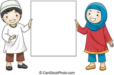 geitjes, moslim, leeg, plank