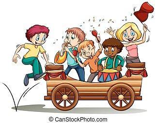 geitjes, muziekwagen