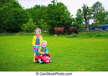 geitjes, op, een, boerderij, met, paarden