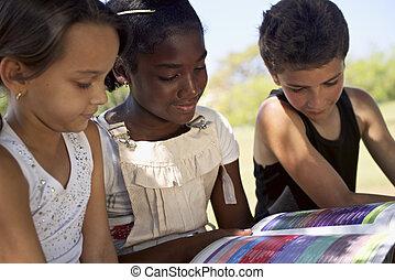 geitjes, park, meiden, opleiding, boek, lezende , kinderen
