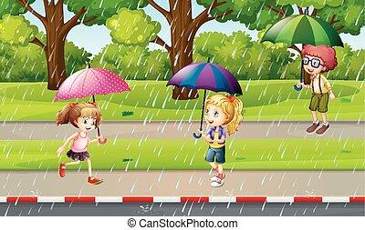 geitjes, park, scène, regen