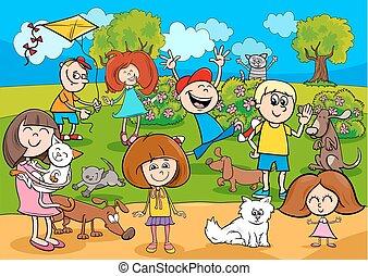 geitjes, park, spotprent, huisdieren