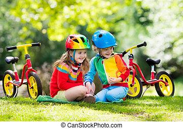 geitjes, rijden, evenwicht, fiets, in park
