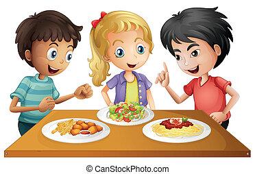 geitjes, schouwend, de, tafel, met, voedsel