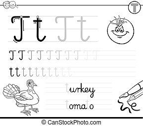 geitjes, schrijf, t, brief, leren, workbook