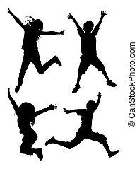 geitjes, silhouette, 03., springt