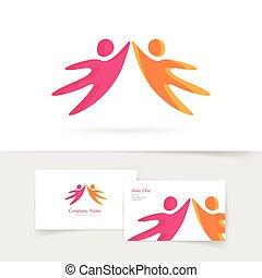 geitjes, silhouette, mensen, abstract, twee, samen, vector, holdingshanden, logo