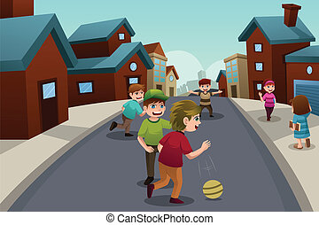 geitjes, spelend, in, de, straat, van, een, voorstedelijk,...