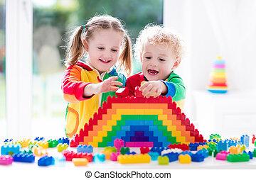 geitjes, spelend, met, kleurrijke, blokjes