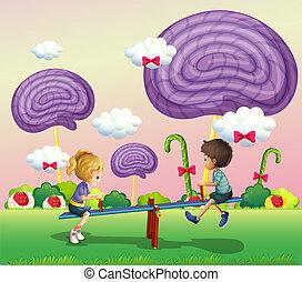 geitjes, spelend, op, de, park, met, reus, suikergoed