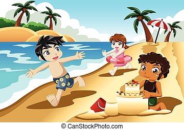 geitjes, spelend, op het strand