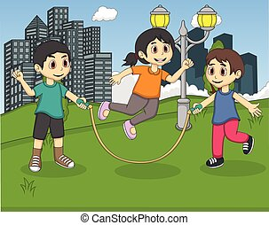 geitjes, spelend, spring touw, op, de, park
