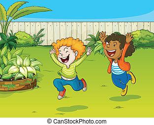 geitjes, spelend, tuin