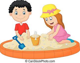 geitjes, spotprent, spelend, op het strand, b