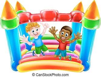 geitjes, springt, op, bouncy, kasteel
