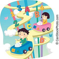 geitjes, stickman, alfabet, hemel, auto, snelweg