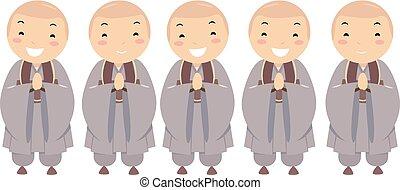 geitjes, stickman, boeddhist, illustratie, jongens, koreaanse