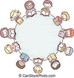 geitjes, stickman, doodle, boekjes , tafel, ronde