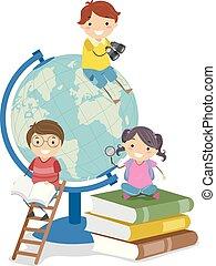 geitjes, stickman, globe, illustratie, boekjes , aardrijkskunde