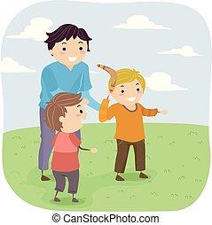 geitjes, stickman, illustratie, jongens, leren, boemerang