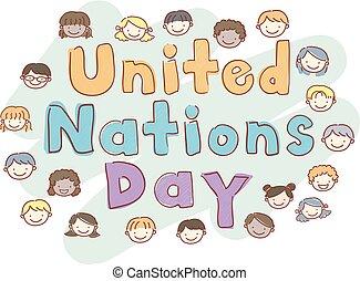 geitjes, stickman, illustratie, naties, verenigd, dag