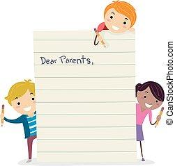 geitjes, stickman, illustratie, ouders, brief, vervaardiging