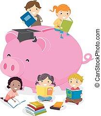 geitjes, stickman, illustratie, piggy, opleiding, bank
