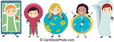 geitjes, stickman, kostuums, illustratie geografie
