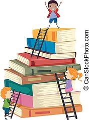 geitjes, stickman, ladders, boek, klimmen, stapel