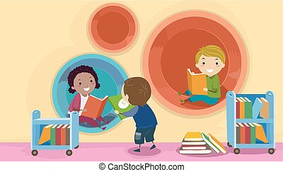 geitjes, stickman, moderne, bibliotheek, illustratie, peul