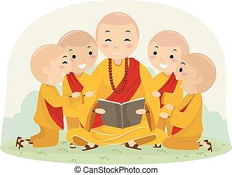 geitjes, stickman, monnik, illustratie, jongens, boek