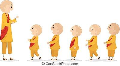 geitjes, stickman, monnik, illustratie, jongens, lijn