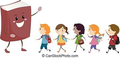 geitjes, stickman, scholieren, illustratie, boek, mascotte