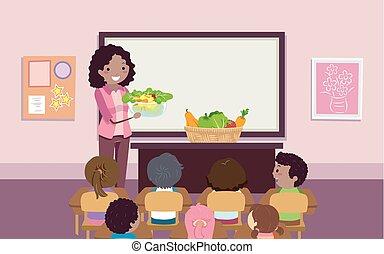 geitjes, stickman, slaatje, illustratie, veggies, leraar