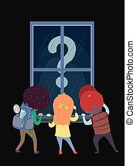 geitjes, stickman, zoekend, vraagteken, venster
